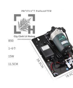 Hàng chính hãng Mius.Công suất : 15W.Sử dụng cho bể nhỏ dưới 90cm, chiều dài ống dây lớn nhất 5m, có thể dùng cho 1-6 béc phun sương